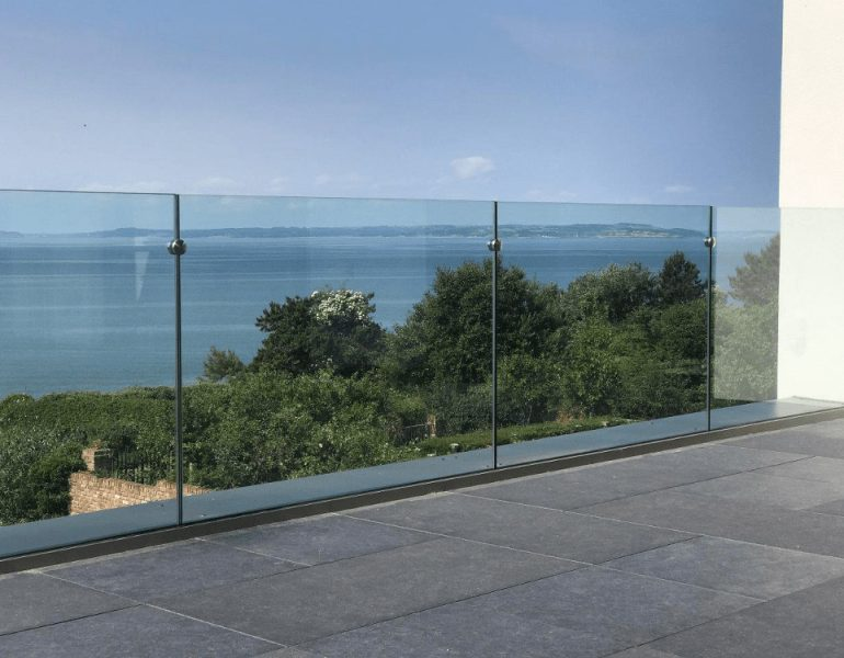 Glass balustrades on a balcony
