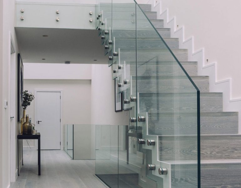 Glass balustrades on a staircase