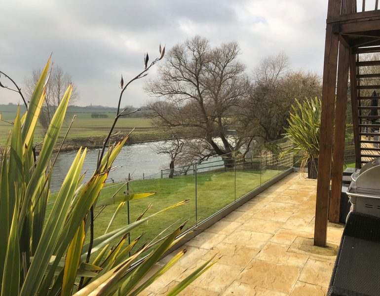 garden patio balustrades with river view