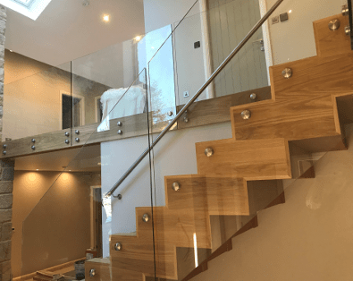 glass balustrades and staircase at home
