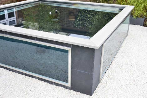 glass toughened laminated sided koi carp pond