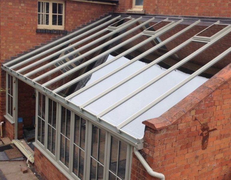 oversized conservatory roof glass panels with no muntin bars