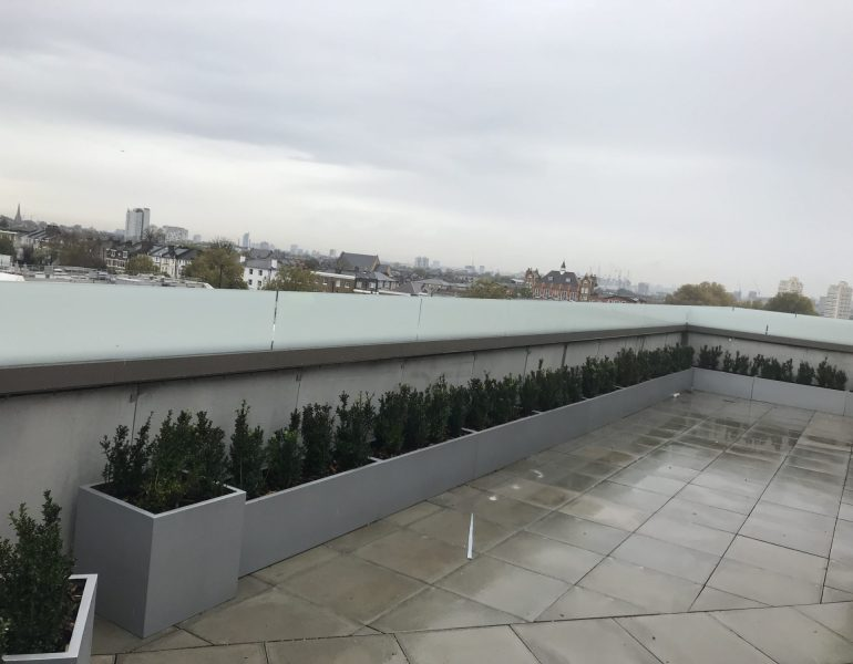 roof top screen-printed glass balustrade