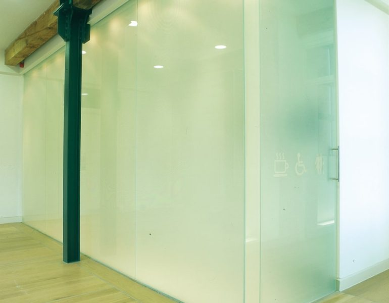 Sand blasted glass partitions for office