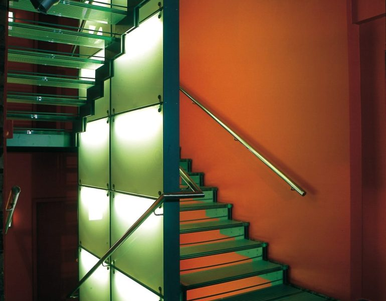 sand-blasted glass staircase