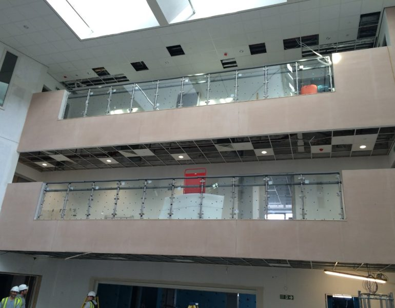school glass balcony