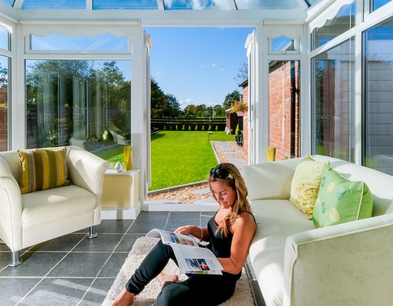 summer conservatory with glass roof