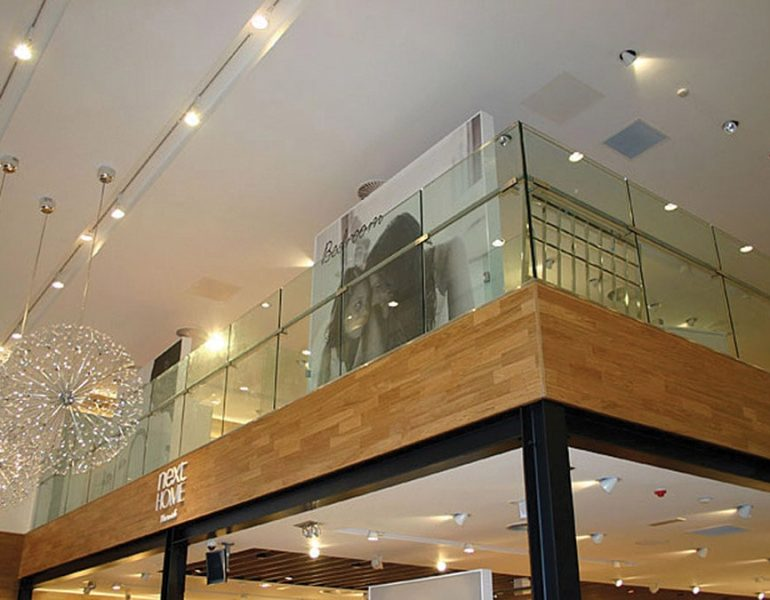 toughened laminated glass balustrades in a department store