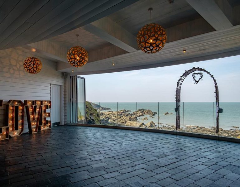 toughened laminated glass balustrades with a sea view